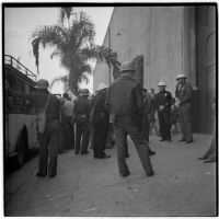 Police on hand to deal with strikers during the Conference of Studio Unions strike against all Hollywood studios, Los Angeles, October 19, 1945