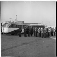 Police and strikers gathered outside a bus during the Conference of Studio Unions strike against all Hollywood studios, Los Angeles, October 19, 1945