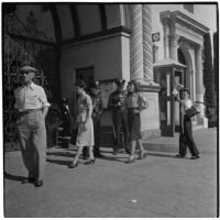 Police and strikers outside Paramount Pictures during the Conference of Studio Unions strike, Los Angeles, October 19, 1945