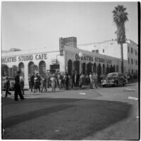Police and strikers outside Oblath's Studio Cafe near Paramount Pictures during the Conference of Studio Unions strike, Los Angeles, October 19, 1945
