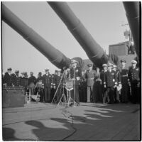 Admiral William F. Halsey delivers farewell speech aboard the U.S.S. South Dakota, Los Angeles, 1945