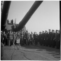 Retirement ceremony for Admiral William F. Halsey aboard the U.S.S. South Dakota, Los Angeles, 1945