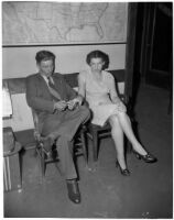 Joe Julius Poncelet and his wife, Peggy Poncelet, after their arrest for attempted robbery, Los Angeles, May 16, 1946