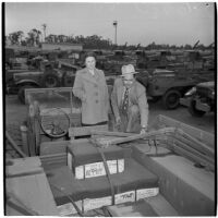 Mr. and Mrs. S.M. Goode at the War Assets Administration's surplus truck and trailer sale, Port Hueneme, May 1946