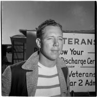 Veteran at Port Hueneme for a Quonset hut and surplus military supply sale, Port Hueneme, July 15, 1946