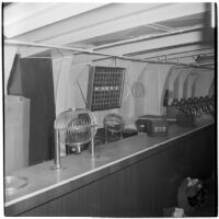 Lottery set-up on Tony Cornero's newly refurbished gambling ship, the Bunker Hill or Lux, Los Angeles, 1946