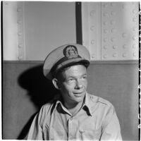 Capt. Robert C. Burdett, skipper of Tony Cornero's newly refurbished gambling ship, the Bunker Hill or Lux, Los Angeles, 1946