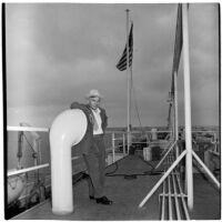 Tony Cornero on the deck of his newly refurbished gambling ship, the Bunker Hill or Lux, Los Angeles, 1946