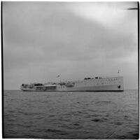 Tony Cornero's newly refurbished gambling ship, the Bunker Hill or Lux, anchored offshore of Los Angeles, 1946
