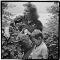 Marge Voigt and son explore the wilderness, Alaska, 1940s