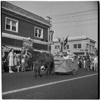Horse and carriage bearing children marching in the post-war Labor day parade, Los Angeles, 1946