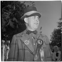 Al Raymond, general chairman of Anaheim's 23rd annual Halloween festival, Anaheim, October 31, 1946