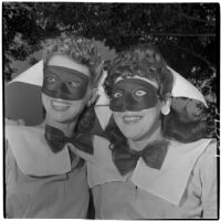 Jennie Van Delden and Mary Hunt in costume for Anaheim's annual Halloween festival, Anaheim, October 31, 1946
