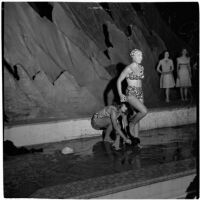 June Breck, champion comedy diver, models a swim suit design by Margit Fellegi during a fashion show, Los Angeles, September 1946