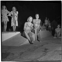 "Models wear ""sea-serpent scroll"" patterned swim suits designed by Margit Fellegi during a fashion show, Los Angeles, September 1946"