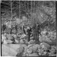 Members of Boy Scout Troop 47, who were marooned overnight in the Arroyo Seco Canyon, Los Angeles, December 9, 1946