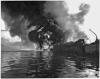 Markay oil tanker explosion in L.A. Harbor, Los Angeles, 1947