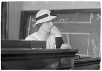 Woman testifying in a courtroom, Los Angeles, 1930-1939