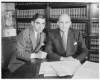 Eddie Cantor and Samuel Goldwyn, defendants in a copyright lawsuit, Los Angeles, April 29, 1936