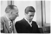 Louis Rude Payne and Dist. Atty. Buron Fitts at Payne's inquest for the murder of his mother and younger brother, Los Angeles, June 6, 1934