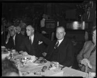 President Herbert Hoover and Kiwanis President Charles E. Arnn at a fundraiser for the Community Chest organization, Los Angeles, 1934