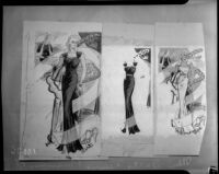 Dress illustrations done for the Illustrated Daily News, Los Angeles, 1930s