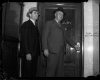 Detective Captain Joseph Taylor enters a jury room with an unidentified man, Los Angeles, 1930s