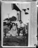 Photograph of Gladys Carter, Frances Walker and her father Frank E. Walker in happier times, Los Angeles, 1935