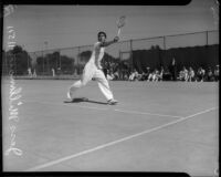 Jess Millman, University of Southern California varsity player, on the tennis court, Los Angeles, 1930s