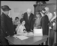 Elderly persons wait in line for pension application under the Old Age Security Act, Los Angeles, 1935
