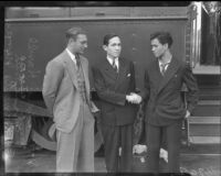 Coach Dixie Howell greets Mexican Consul Ricardo Hill and player Ernesto Navas from University of Mexico football team, Los Angeles, 1935