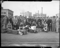 Football team from University of Mexico arrives for a game at the Coliseum, Los Angeles, 1935