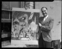 """Artist Philip DeGuard and his painting """"Princess Unveils,"""" Los Angeles, 1935"""