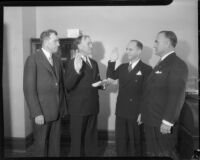 Goodwin S. Knight sworn into office as judge of the Superior Court, Los Angeles, 1935