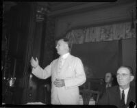 Judge James Francis Thaddeus O'Connor speaks next to congressman Thomas Francis Ford, Los Angeles, 1930s