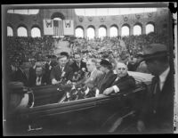President Franklin D. Roosevelt, Eleanor Roosevelt, and Mayor Frank L. Shaw ride in a motorcade, Los Angeles, 1935