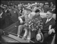 President Franklin D. Roosevelt, Eleanor Roosevelt, and Mayor Frank L. Shaw at start of motorcade, Los Angeles, 1935