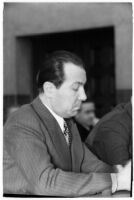 Prosecutor Clyde Shoemaker at the perjury trial for District Attorney Buron Fitts, Los Angeles, 1936