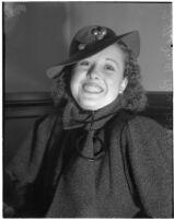 Portrait of Lillie Mae Parr wearing a hat, Los Angeles, 1930s