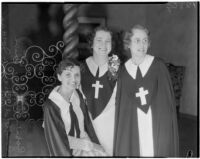 Evangelists Roberta Semple, Rheba Crawford, and Harriet Jordan awaiting pastor Aimee Semple McPherson of Angelus Temple, Los Angeles, 1936
