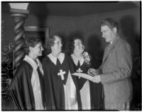 Evangelists Roberta Semple, Rheba Crawford, and Harriet Jordan, and the attorney Jacob Moidel, awaiting pastor Aimee Semple McPherson of Angelus Temple, Los Angeles, 1936