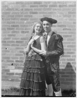 UCLA student actors in costume for a play, Los Angeles, 1936