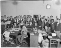 Group of young men in an office during International Boys' Week, Los Angeles, 1936