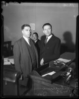 Robert S. James, accused of murdering his wife Mary, with his attorney Samuel J. Silverman, Los Angeles, 1936