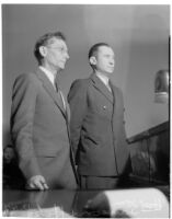 Charles H. Hope in court with public defender William H. Sanson for his joint murder trial with Robert S. James, Los Angeles, 1936
