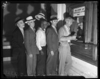 Veterans receiving their bonus payments at a government office, Los Angeles, 1936