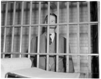 Murder suspect Robert S. James in his jail cell, Los Angeles, 1936