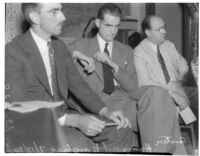 Howard Hughes in court during the inquest for the traffic death of Gabe S. Meyer, Los Angeles, 1940