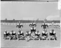 Members of the Loyola University football team in snap formation, Los Angeles, 1936