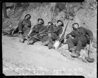 Volunteers resting after fighting fire, Malibu, 1936